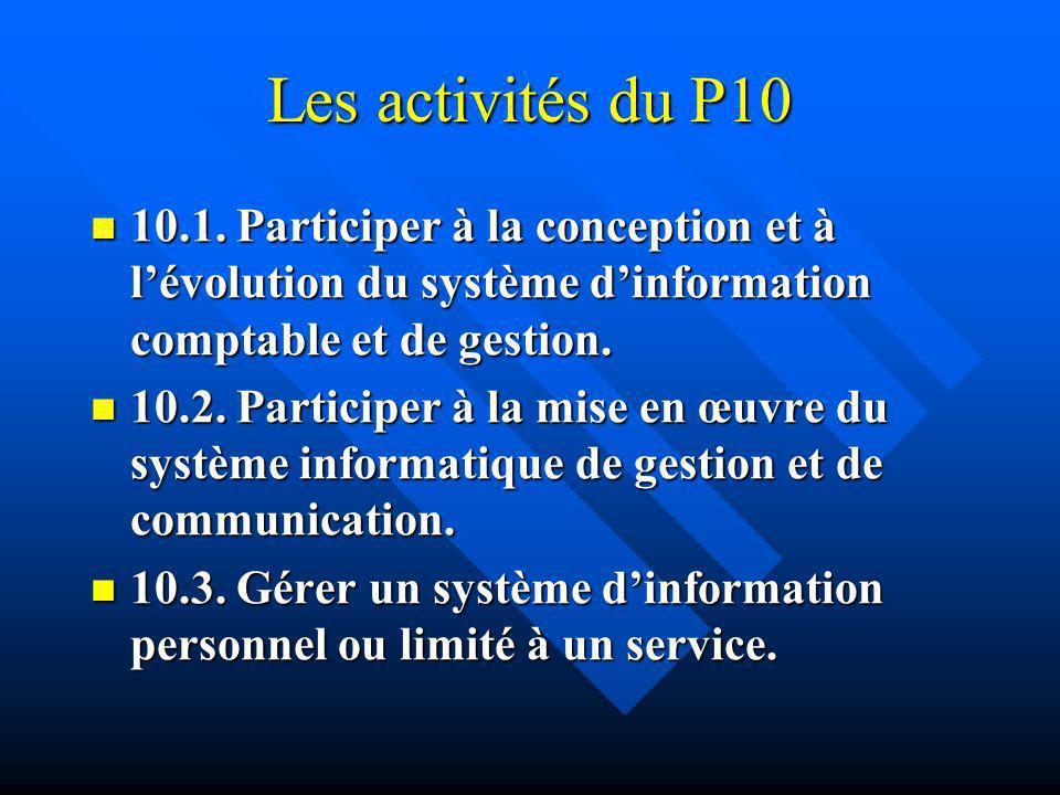 Les activités du P10 10.1. Participer à la conception et à lévolution du système dinformation comptable et de gestion. 10.1. Participer à la conceptio