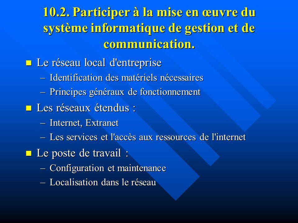 10.2. Participer à la mise en œuvre du système informatique de gestion et de communication. Le réseau local d'entreprise Le réseau local d'entreprise