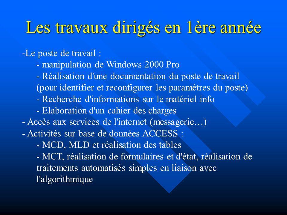 Les travaux dirigés en 1ère année -Le poste de travail : - manipulation de Windows 2000 Pro - Réalisation d'une documentation du poste de travail (pou