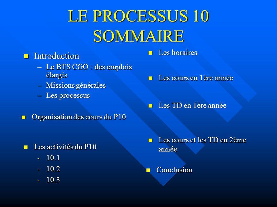 LE PROCESSUS 10 SOMMAIRE Introduction Introduction –Le BTS CGO : des emplois élargis –Missions générales –Les processus Organisation des cours du P10