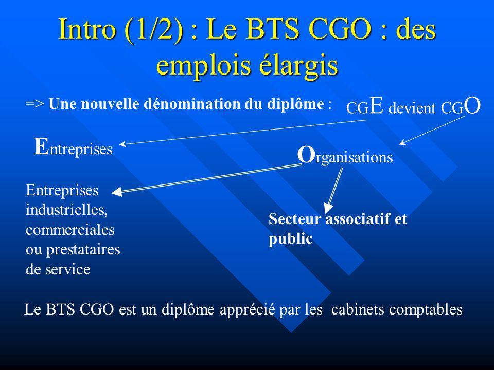 Intro (1/2) : Le BTS CGO : des emplois élargis CG E devient CG O E ntreprises O rganisations Le BTS CGO est un diplôme apprécié par les cabinets compt