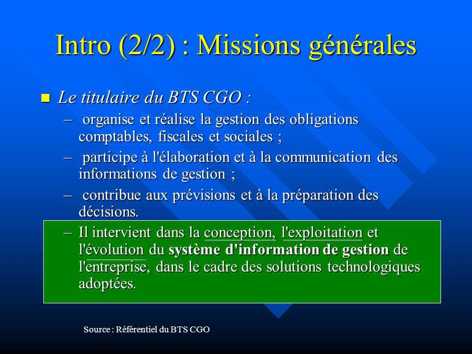 Intro (2/2) : Missions générales Le titulaire du BTS CGO : Le titulaire du BTS CGO : – organise et réalise la gestion des obligations comptables, fisc