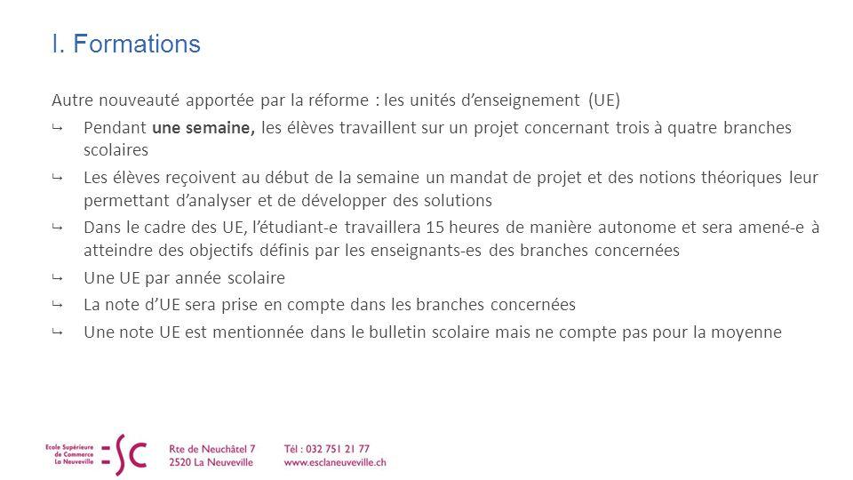 I. Formations Autre nouveauté apportée par la réforme : les unités denseignement (UE) Pendant une semaine, les élèves travaillent sur un projet concer