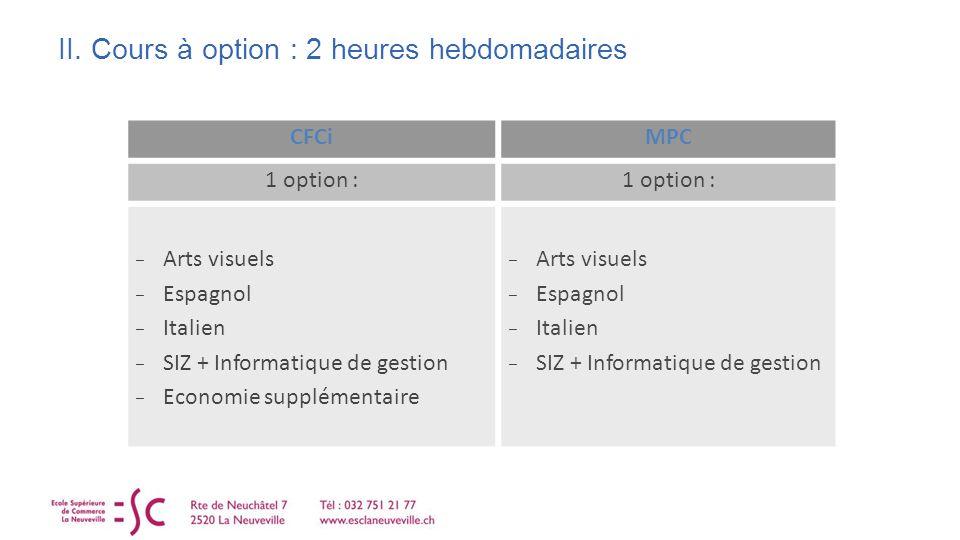 II. Cours à option : 2 heures hebdomadaires CFCiMPC 1 option : Arts visuels Espagnol Italien SIZ + Informatique de gestion Economie supplémentaire Art