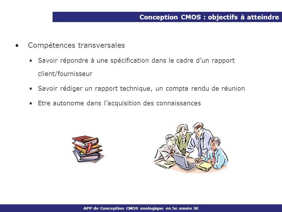 APP de Conception CMOS analogique en 5e année SE Compétences transversales Savoir répondre à une spécification dans le cadre dun rapport client/fourni