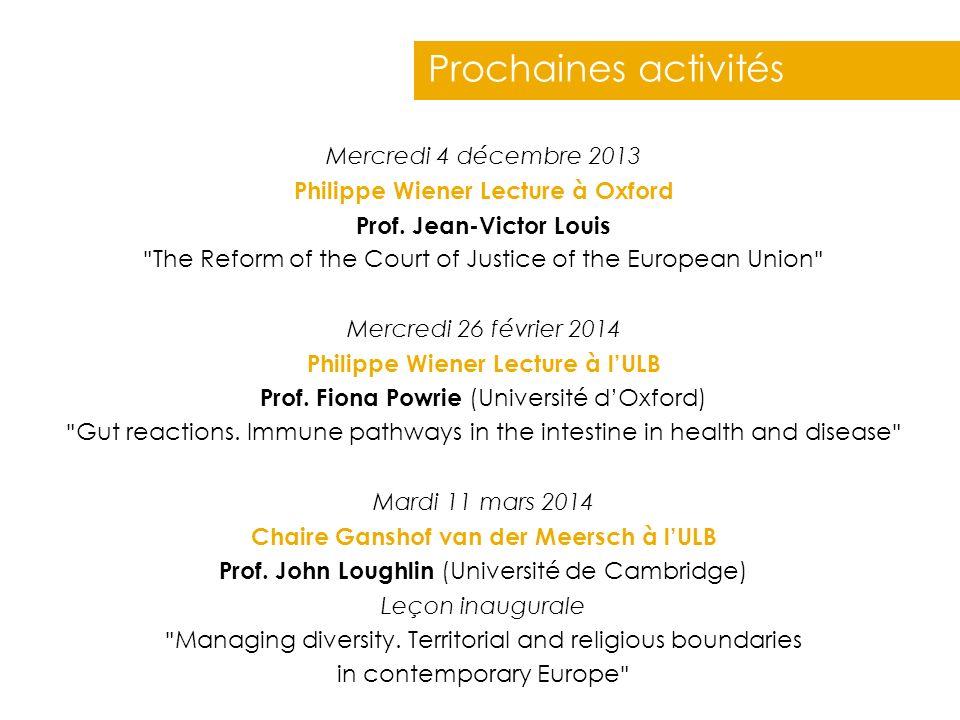 Prochaines activités Mercredi 4 décembre 2013 Philippe Wiener Lecture à Oxford Prof. Jean-Victor Louis