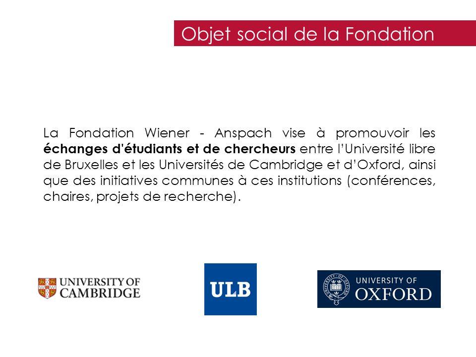 La Fondation Wiener - Anspach vise à promouvoir les échanges d'étudiants et de chercheurs entre lUniversité libre de Bruxelles et les Universités de C