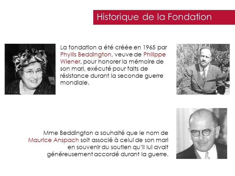 La fondation a été créée en 1965 par Phyllis Beddington, veuve de Philippe Wiener, pour honorer la mémoire de son mari, exécuté pour faits de résistan