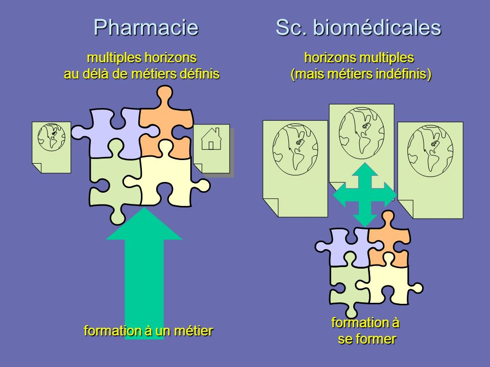formation à un métier formation à se former multiples horizons au délà de métiers définis horizons multiples (mais métiers indéfinis) Pharmacie Sc. bi