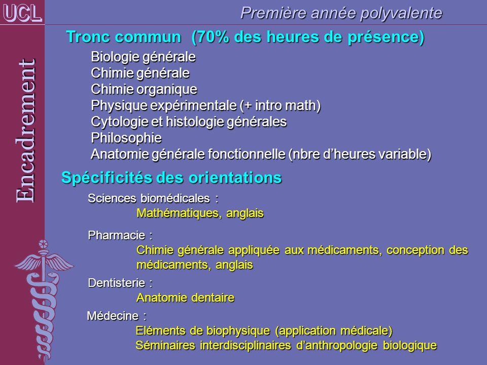 Encadrement Tronc commun (70% des heures de présence) Biologie générale Chimie générale Chimie organique Physique expérimentale (+ intro math) Cytolog