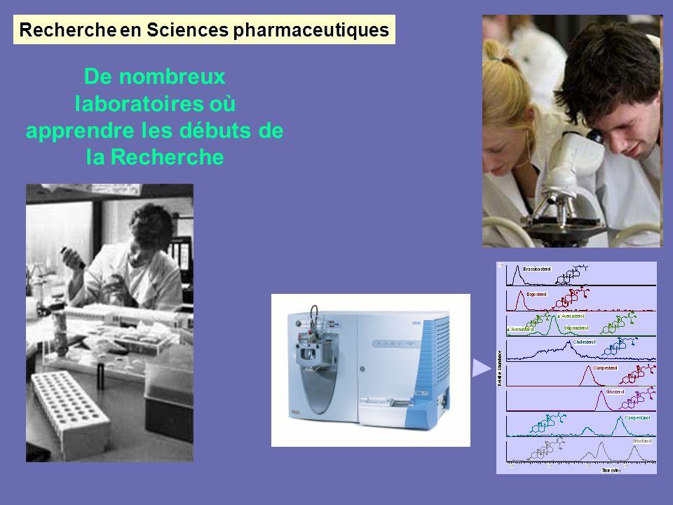 Recherche en Sciences pharmaceutiques De nombreux laboratoires où apprendre les débuts de la Recherche