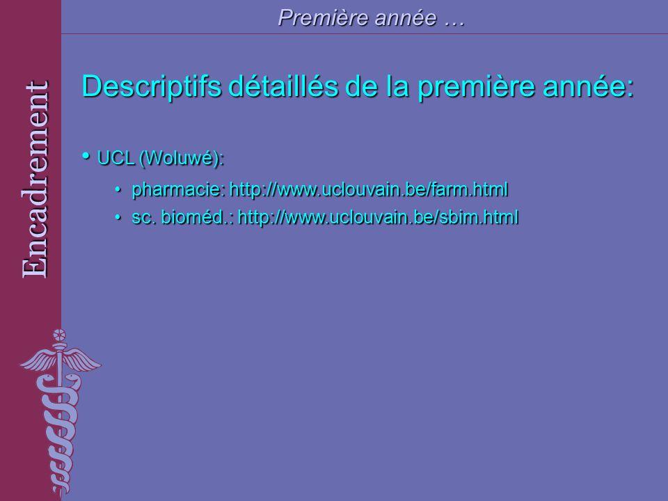 Encadrement Première année … Descriptifs détaillés de la première année: UCL (Woluwé): UCL (Woluwé): pharmacie: http://www.uclouvain.be/farm.html phar