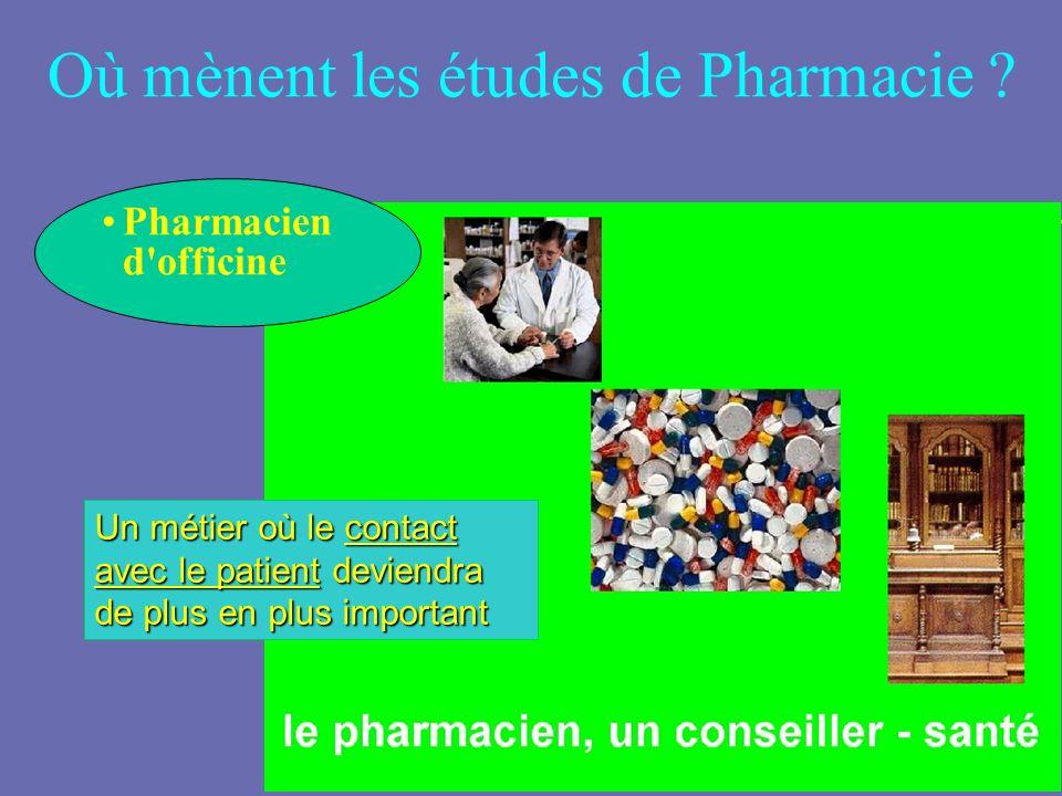 Où mènent les études de Pharmacie ? Pharmacien d'officine Un métier où le contact avec le patient deviendra de plus en plus important