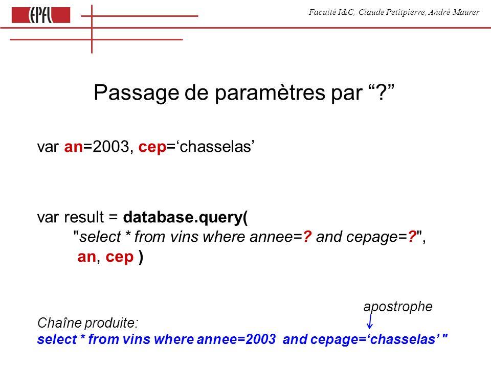 Faculté I&C, Claude Petitpierre, André Maurer Passage de paramètres par ? var an=2003, cep=chasselas var result = database.query(