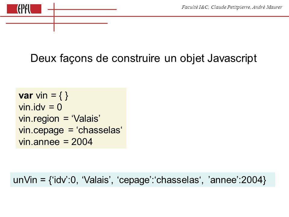 Faculté I&C, Claude Petitpierre, André Maurer Deux façons de construire un objet Javascript unVin = {idv:0, Valais, cepage:chasselas, annee:2004} var vin = { } vin.idv = 0 vin.region = Valais vin.cepage = chasselas vin.annee = 2004