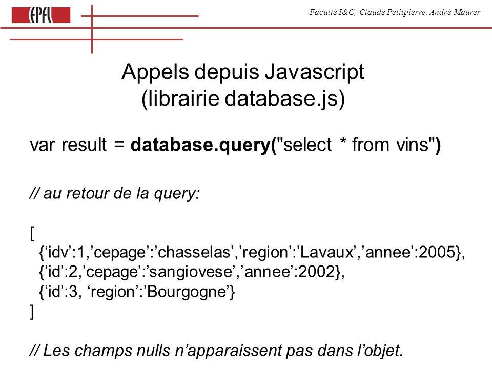 Faculté I&C, Claude Petitpierre, André Maurer Appels depuis Javascript (librairie database.js) var result = database.query(