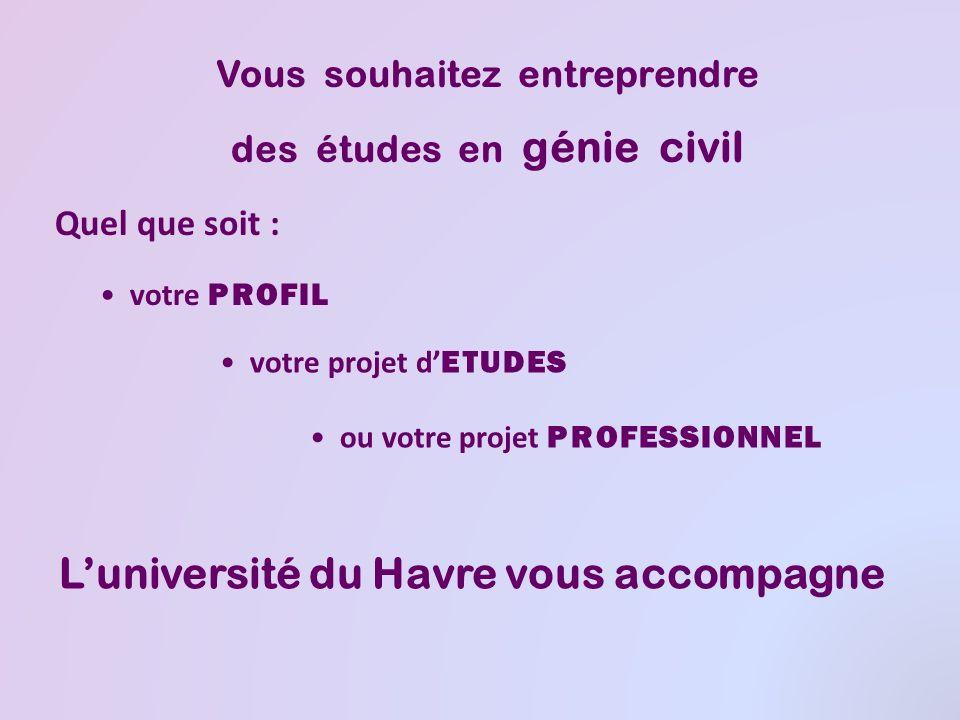 Quel que soit : Vous souhaitez entreprendre des études en génie civil votre PROFIL votre projet d ETUDES ou votre projet PROFESSIONNEL Luniversité du Havre vous accompagne