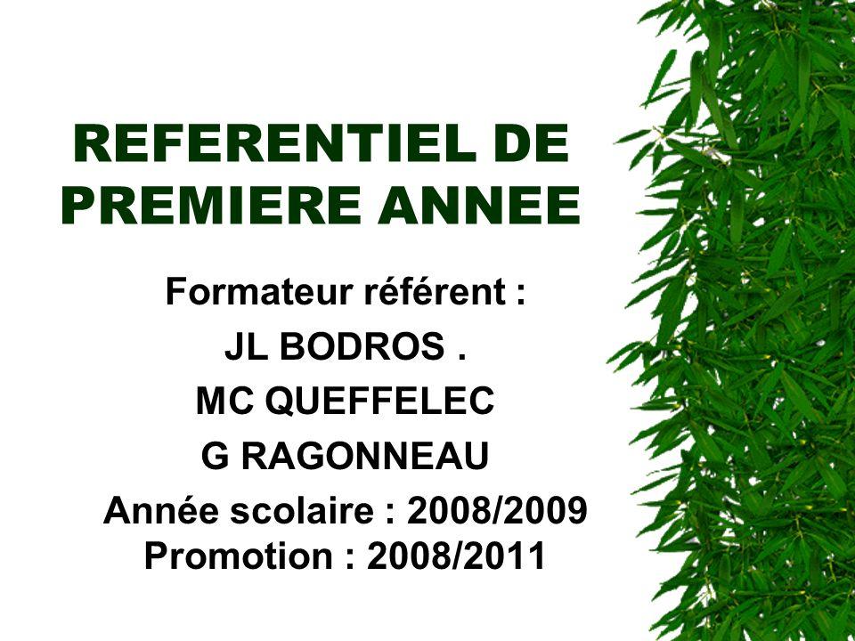 REFERENTIEL DE PREMIERE ANNEE Formateur référent : JL BODROS. MC QUEFFELEC G RAGONNEAU Année scolaire : 2008/2009 Promotion : 2008/2011.