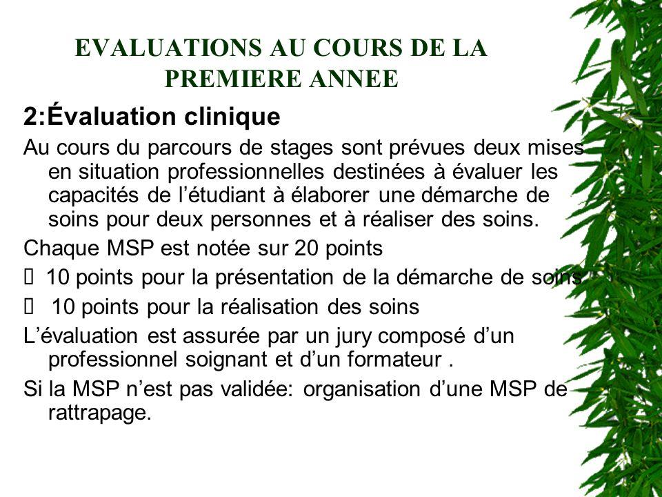 EVALUATIONS AU COURS DE LA PREMIERE ANNEE 2:Évaluation clinique Au cours du parcours de stages sont prévues deux mises en situation professionnelles d