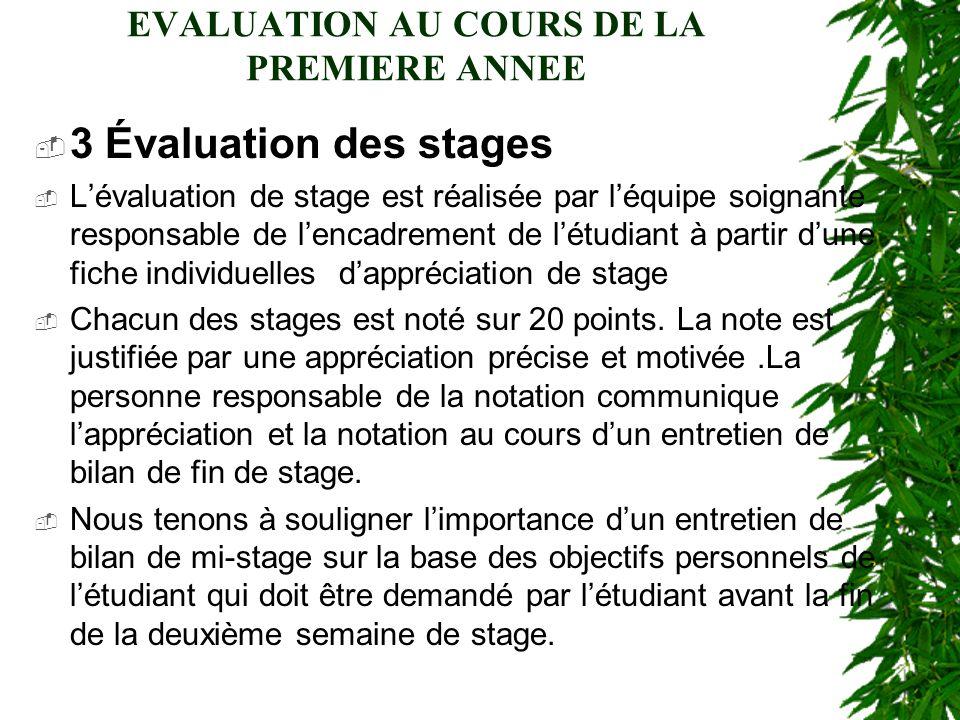 EVALUATION AU COURS DE LA PREMIERE ANNEE 3 Évaluation des stages Lévaluation de stage est réalisée par léquipe soignante responsable de lencadrement d