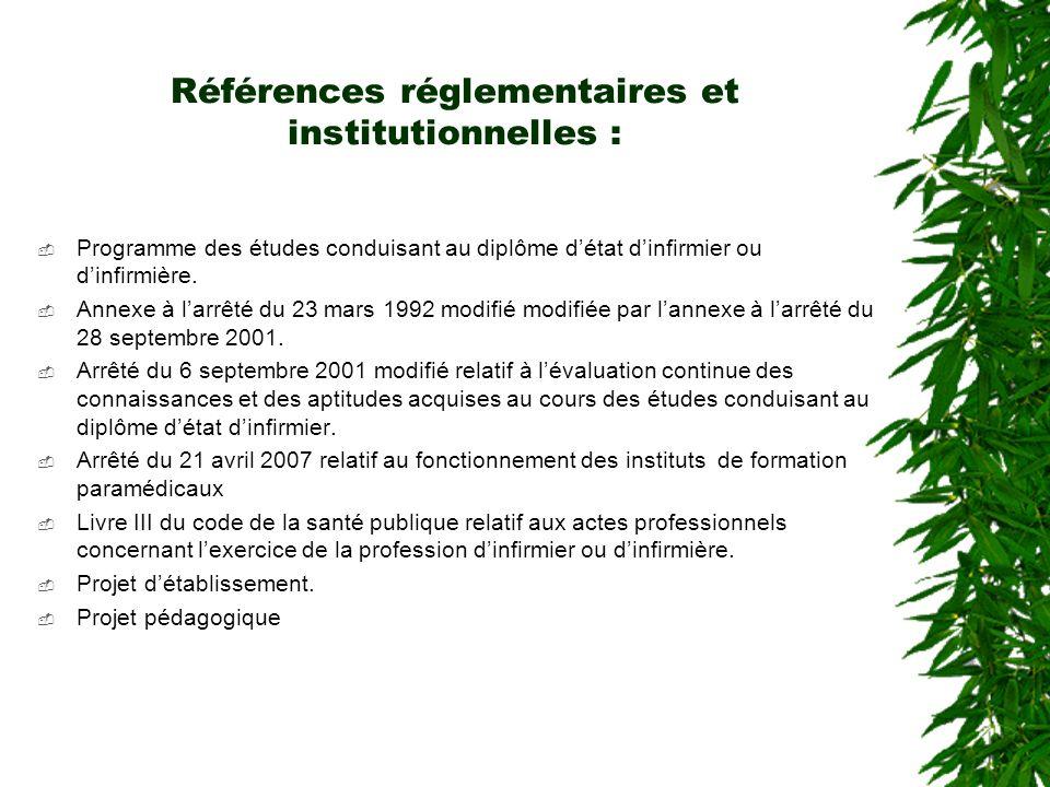 Références réglementaires et institutionnelles : Programme des études conduisant au diplôme détat dinfirmier ou dinfirmière. Annexe à larrêté du 23 ma