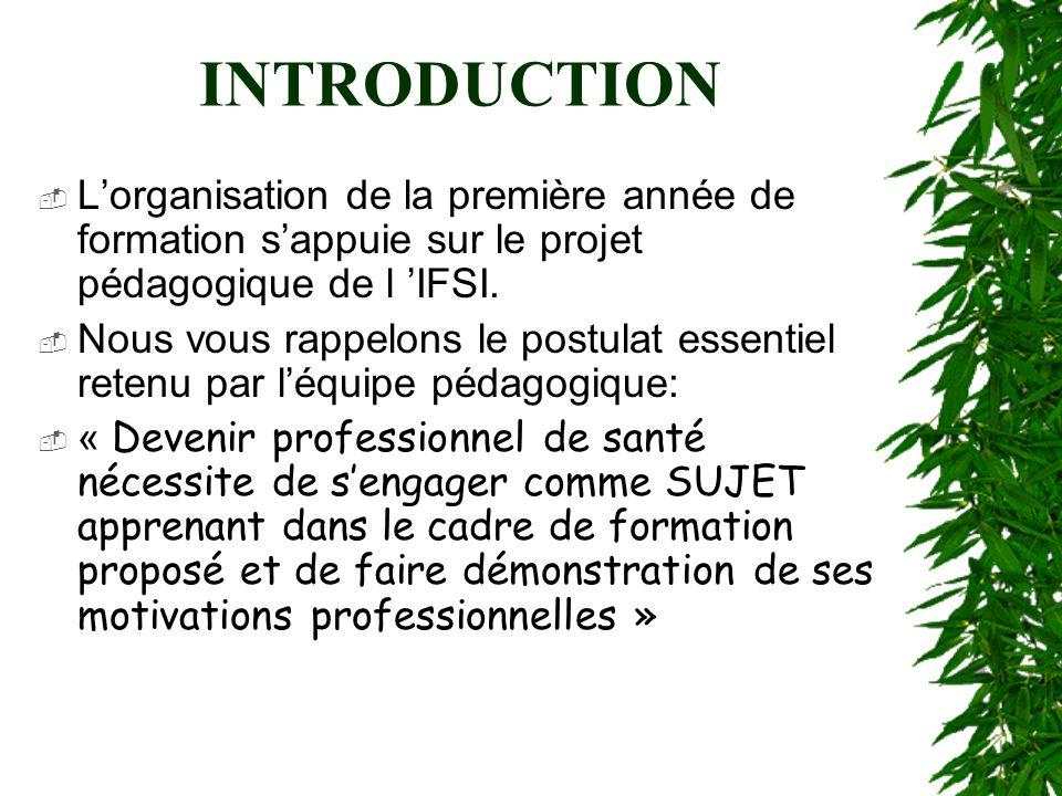INTRODUCTION Lorganisation de la première année de formation sappuie sur le projet pédagogique de l IFSI. Nous vous rappelons le postulat essentiel re