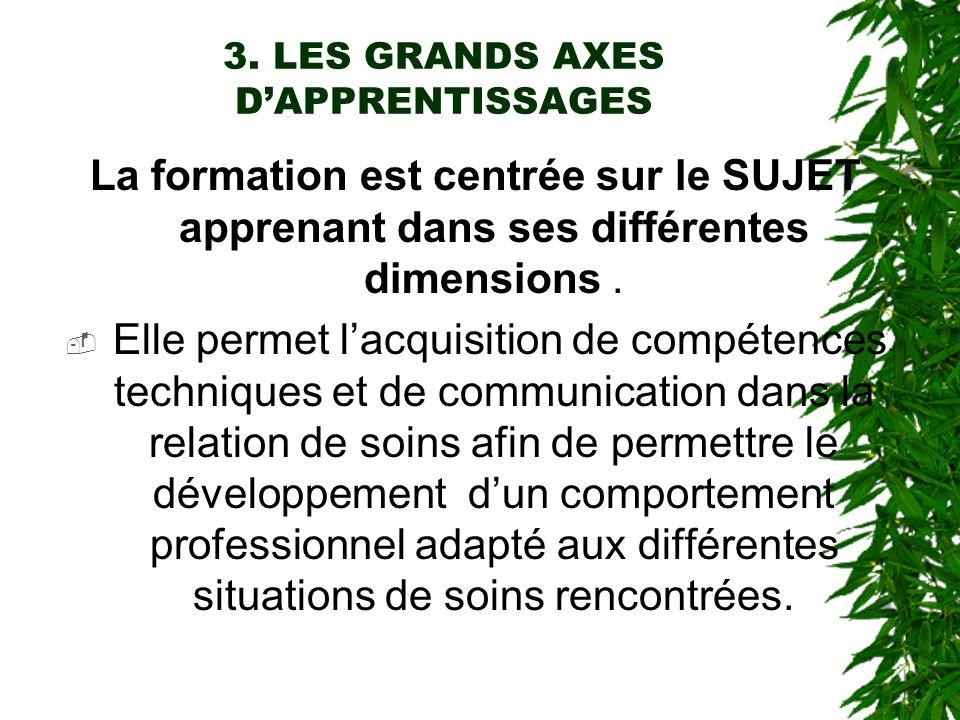 3. LES GRANDS AXES DAPPRENTISSAGES La formation est centrée sur le SUJET apprenant dans ses différentes dimensions. Elle permet lacquisition de compét