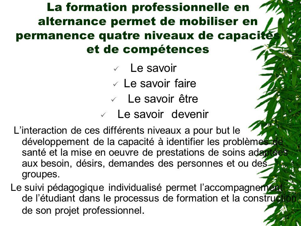 La formation professionnelle en alternance permet de mobiliser en permanence quatre niveaux de capacités et de compétences Le savoir Le savoir faire L