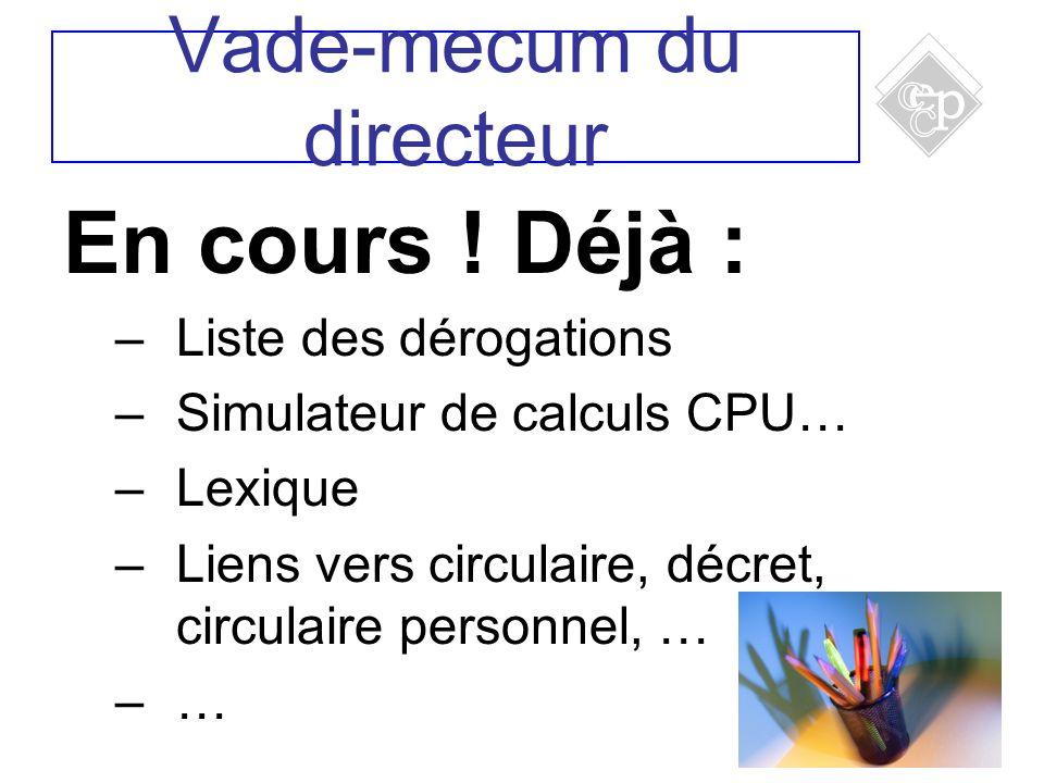 12 En cours ! Déjà : –Liste des dérogations –Simulateur de calculs CPU… –Lexique –Liens vers circulaire, décret, circulaire personnel, … –… Vade-mecum