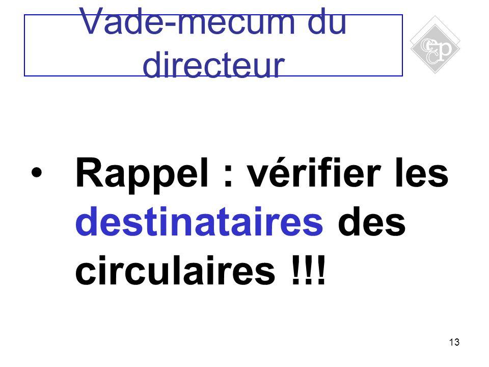13 Rappel : vérifier les destinataires des circulaires !!! Vade-mecum du directeur