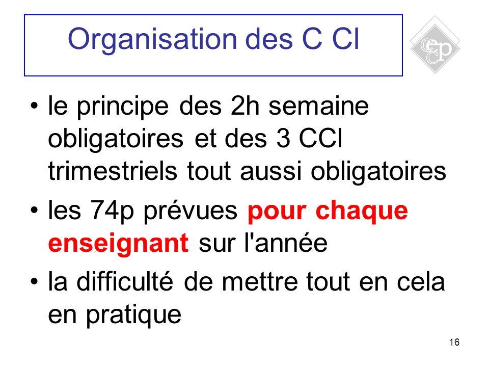16 le principe des 2h semaine obligatoires et des 3 CCl trimestriels tout aussi obligatoires les 74p prévues pour chaque enseignant sur l'année la dif