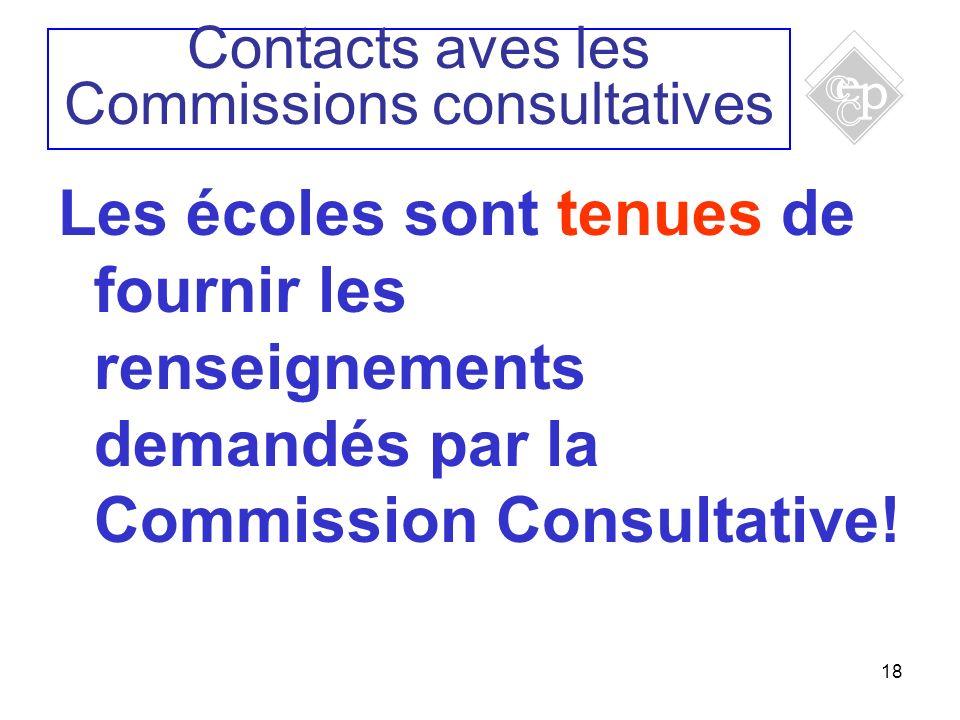 18 Les écoles sont tenues de fournir les renseignements demandés par la Commission Consultative! Contacts aves les Commissions consultatives
