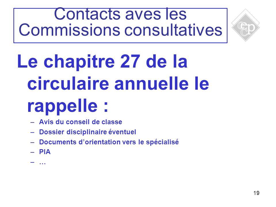 19 Le chapitre 27 de la circulaire annuelle le rappelle : –Avis du conseil de classe –Dossier disciplinaire éventuel –Documents dorientation vers le s