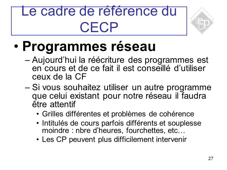 27 Programmes réseau –Aujourdhui la réécriture des programmes est en cours et de ce fait il est conseillé dutiliser ceux de la CF –Si vous souhaitez u