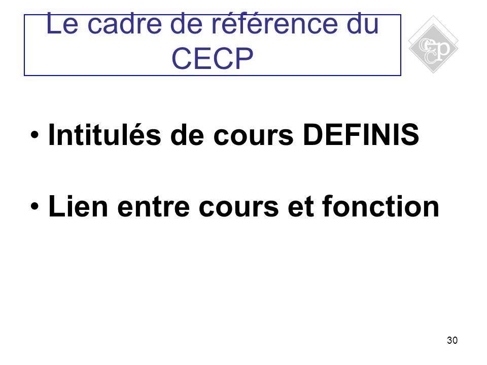 30 Intitulés de cours DEFINIS Lien entre cours et fonction Le cadre de référence du CECP