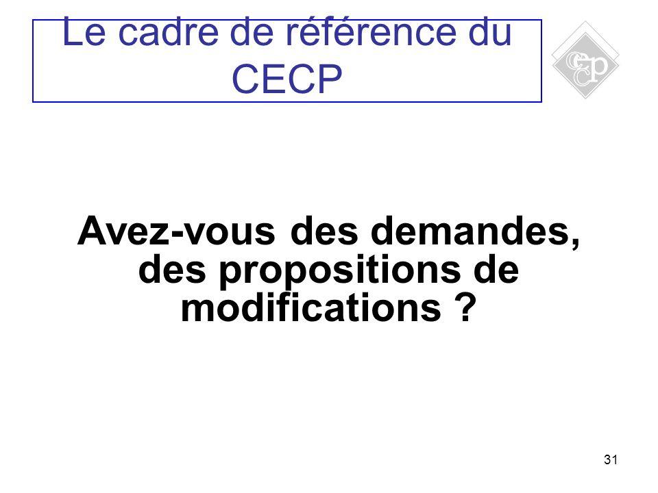 31 Avez-vous des demandes, des propositions de modifications ? Le cadre de référence du CECP