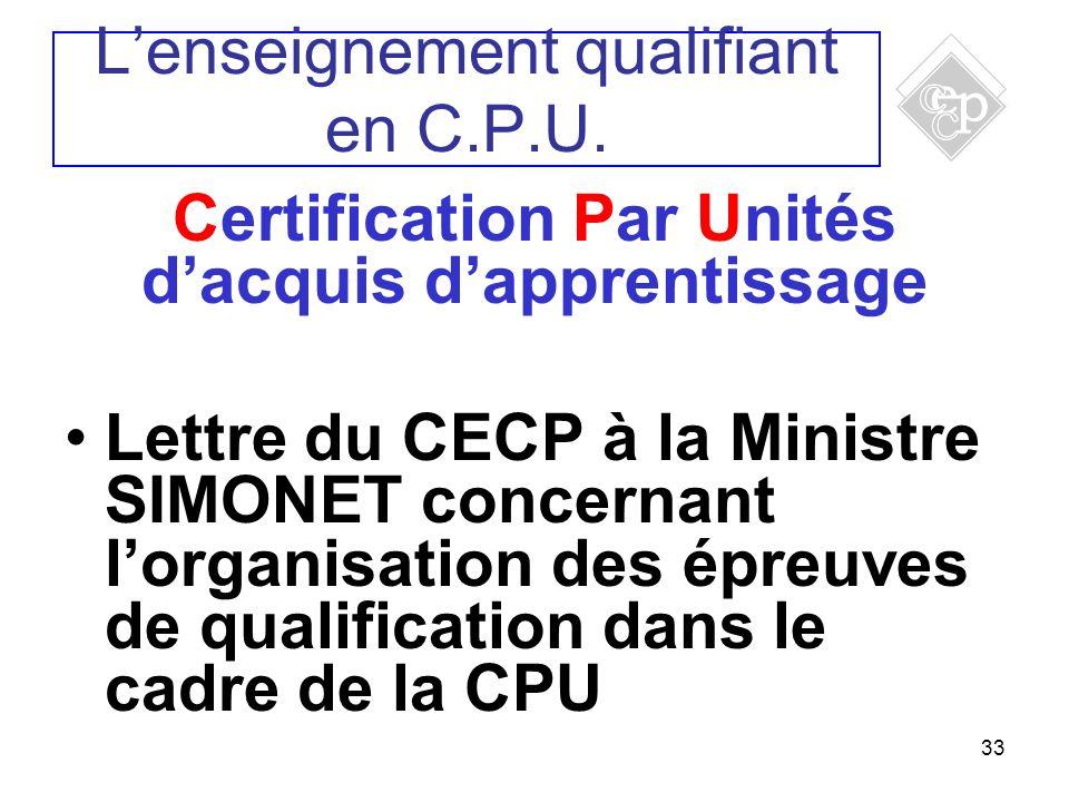 33 Certification Par Unités dacquis dapprentissage Lettre du CECP à la Ministre SIMONET concernant lorganisation des épreuves de qualification dans le