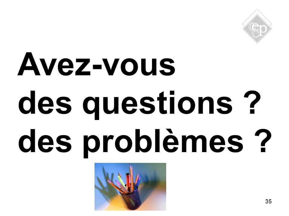 Avez-vous des questions ? des problèmes ? 35