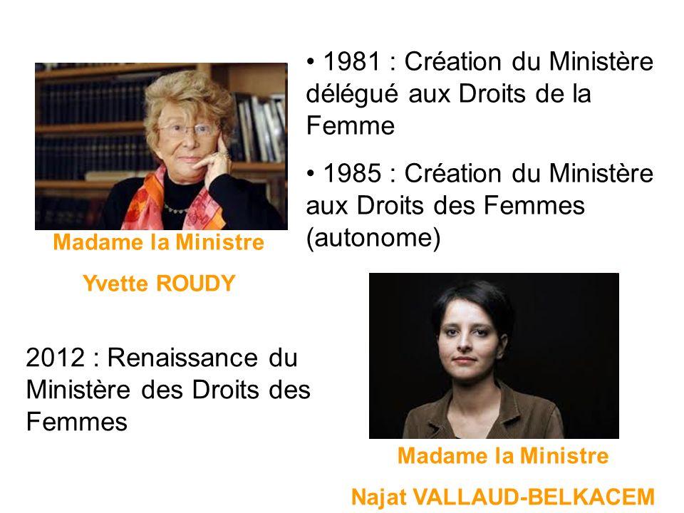 Madame la Ministre Yvette ROUDY Madame la Ministre Najat VALLAUD-BELKACEM 1981 : Création du Ministère délégué aux Droits de la Femme 1985 : Création