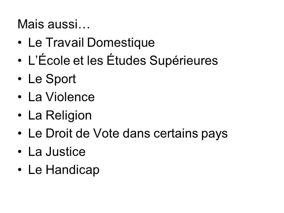 Mais aussi… Le Travail Domestique LÉcole et les Études Supérieures Le Sport La Violence La Religion Le Droit de Vote dans certains pays La Justice Le