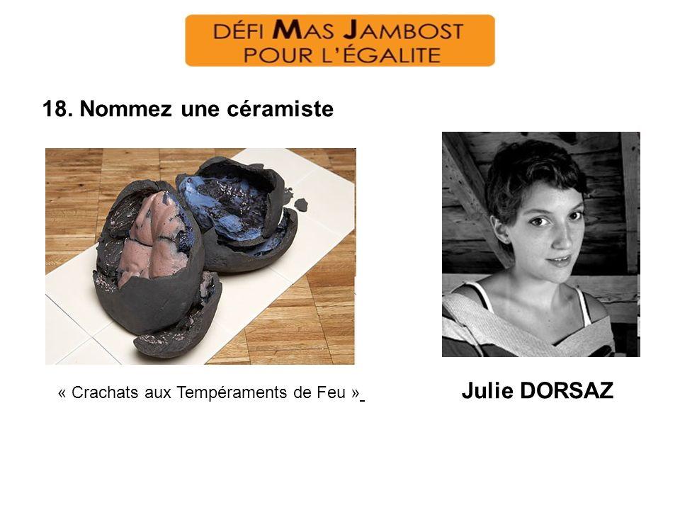 18. Nommez une céramiste « Crachats aux Tempéraments de Feu » Julie DORSAZ