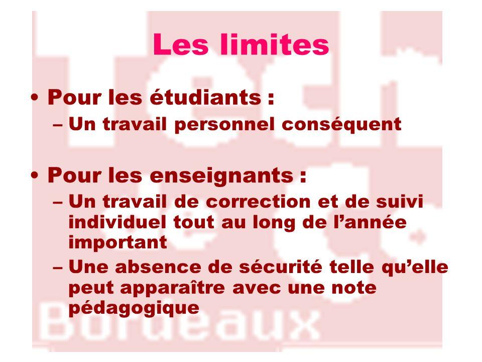 Les limites Pour les étudiants : –Un travail personnel conséquent Pour les enseignants : –Un travail de correction et de suivi individuel tout au long