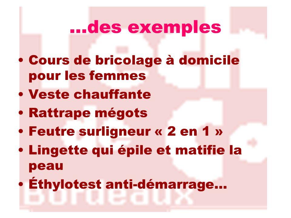 …des exemples Cours de bricolage à domicile pour les femmes Veste chauffante Rattrape mégots Feutre surligneur « 2 en 1 » Lingette qui épile et matifi