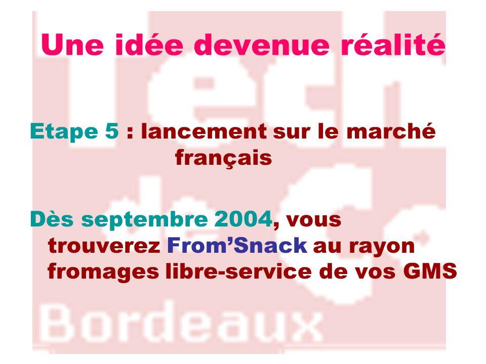 Une idée devenue réalité Etape 5 : lancement sur le marché français Dès septembre 2004, vous trouverez FromSnack au rayon fromages libre-service de vo