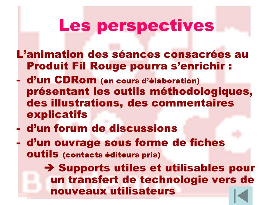 Les perspectives Lanimation des séances consacrées au Produit Fil Rouge pourra senrichir : -dun CDRom (en cours délaboration) présentant les outils mé
