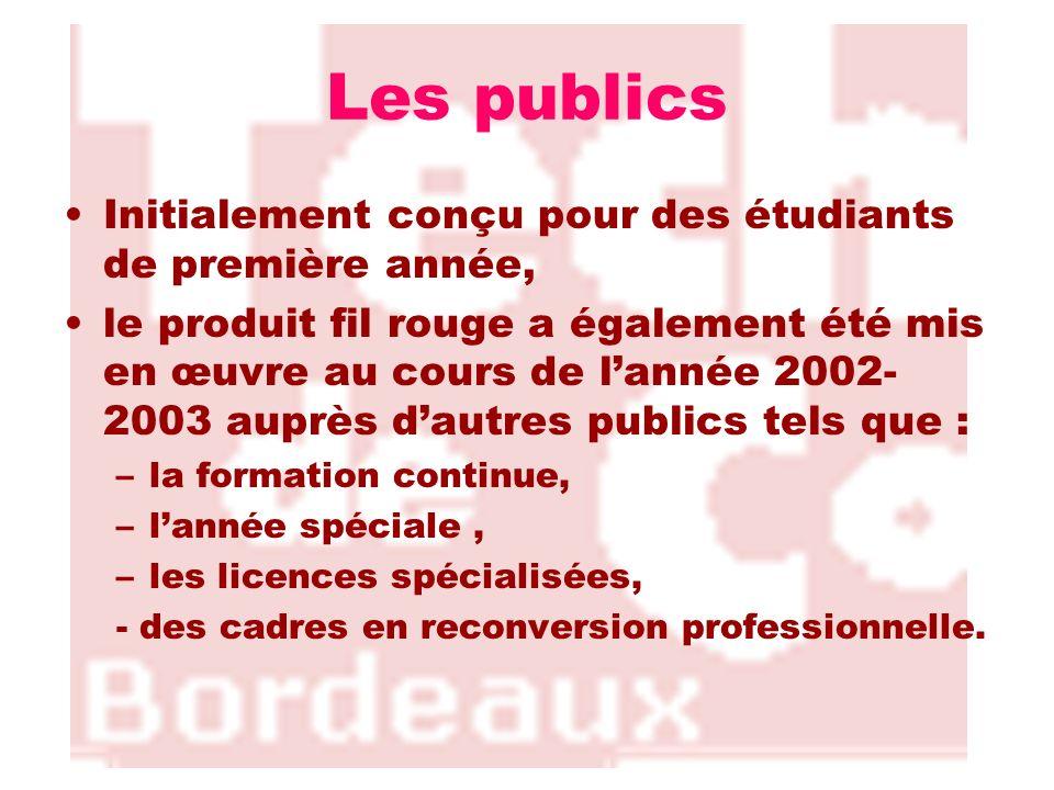 Les publics Initialement conçu pour des étudiants de première année, le produit fil rouge a également été mis en œuvre au cours de lannée 2002- 2003 a
