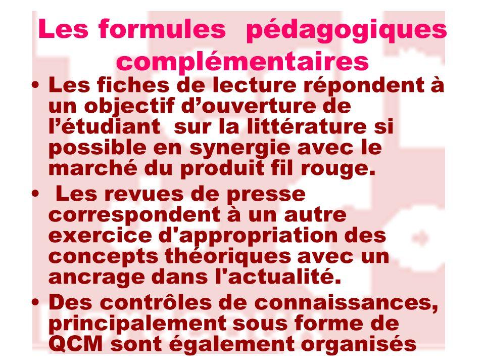 Les formules pédagogiques complémentaires Les fiches de lecture répondent à un objectif douverture de létudiant sur la littérature si possible en syne