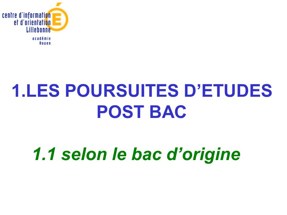 1.LES POURSUITES DETUDES POST BAC 1.1 selon le bac dorigine