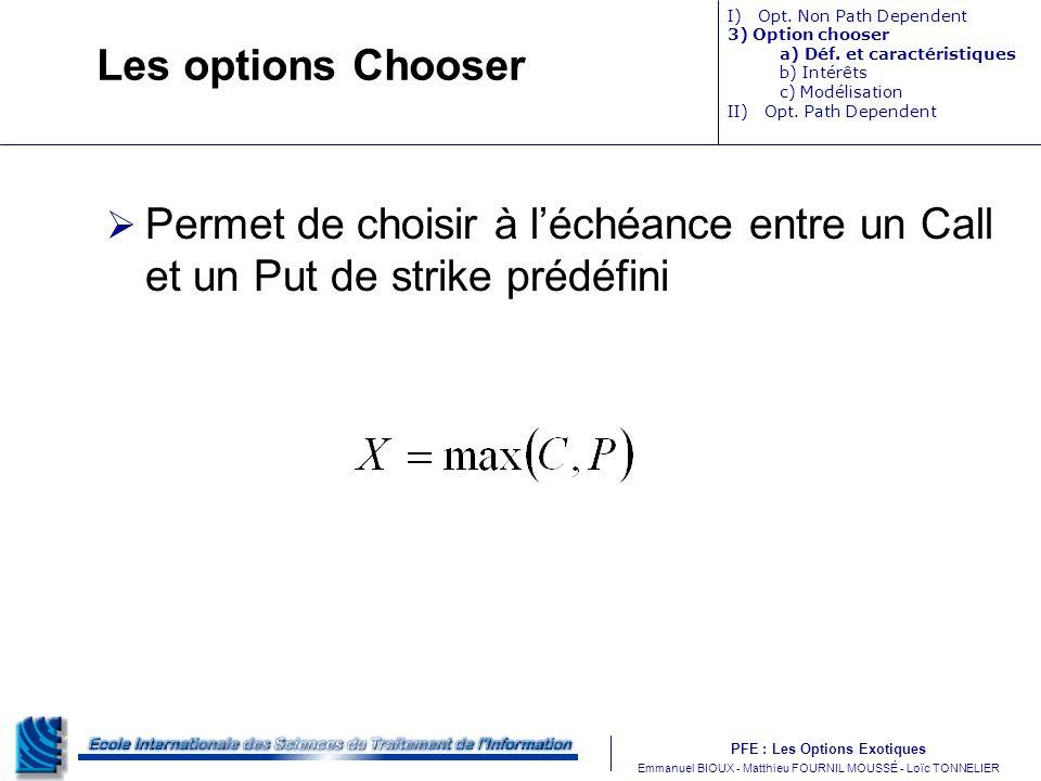 PFE : Les Options Exotiques m Emmanuel BIOUX - Matthieu FOURNIL MOUSSÉ - Loïc TONNELIER Les options Chooser Permet de choisir à léchéance entre un Call et un Put de strike prédéfini I) Opt.