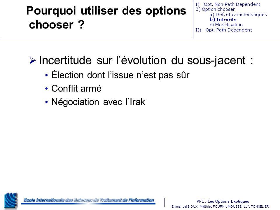 PFE : Les Options Exotiques m Emmanuel BIOUX - Matthieu FOURNIL MOUSSÉ - Loïc TONNELIER Pourquoi utiliser des options chooser ? Incertitude sur lévolu
